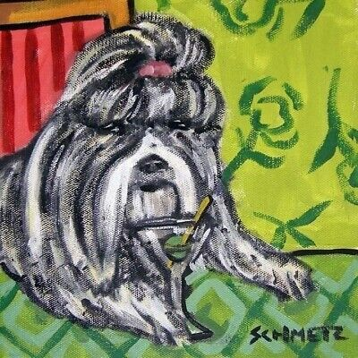 shih tzu martini dog art tile coaster gift