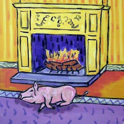 pig PRINT on tile- ceramic coaster - modern pig art- fireplace - gift- JSCHMETZ