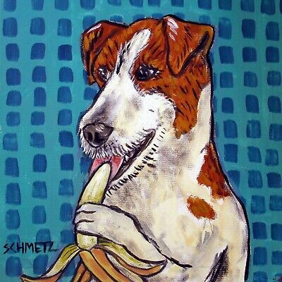 jack russell terrier bananna dog gift art tile coaster