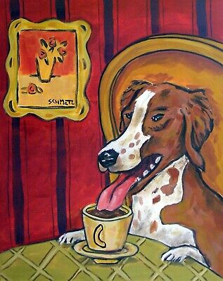 Brittany DOG art pet PRINT abstract folk pop Art 11x14 coffee art JSCHMETZ