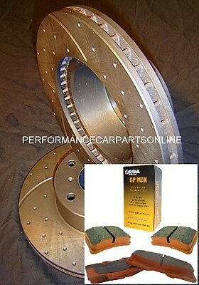 DRILLED SLOTTED & PADS Ford Territory Front Disc Brake Rotors & GP MAX Pads