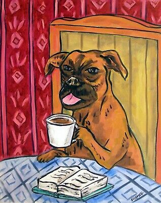 boxer dog coffee cafe signed 8x10 art PRINT poster gift JSCHMETZ