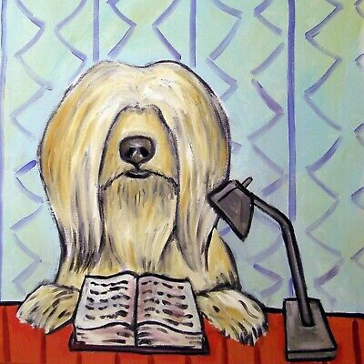 tibetan terrier dog art tile coaster gift JSCHMETZ