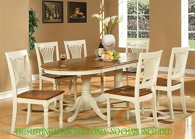 ONE OVAL DINETTE KITCHEN DINING TABLE 42x78 WITHOUT CHAIR IN BUTTERMILK & CHERRY