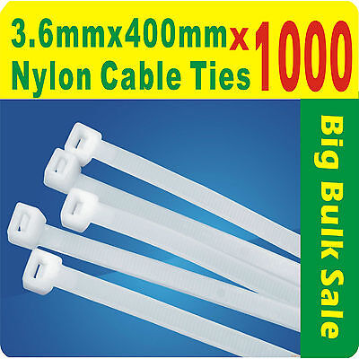 1000 x Natural (White) Nylon Cable Ties 3.6mmX 400mm (4 x400mm) Free Postage
