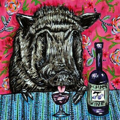4x4  pig art wine glass art tile coaster gift JSCHMETZ modern folk new