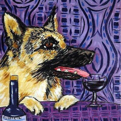 4x4  german shepherd dog wine glass art tile coaster gift JSCHMETZ modern folk