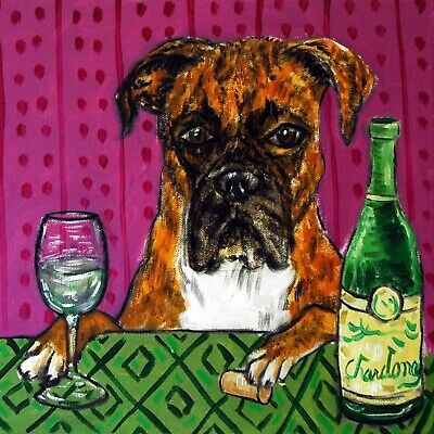 4x4  Boxer dog wine glass art tile coaster gift JSCHMETZ modern folk new