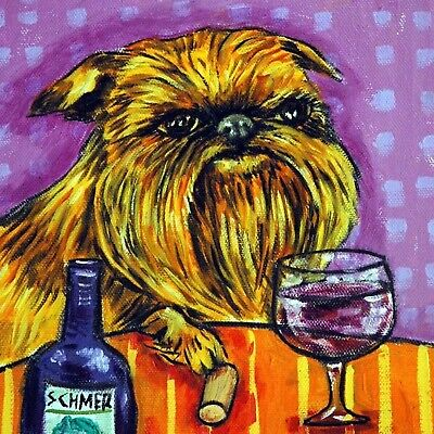 4x4  Brussels Griffon wine glass art tile coaster gift JSCHMETZ modern folk new