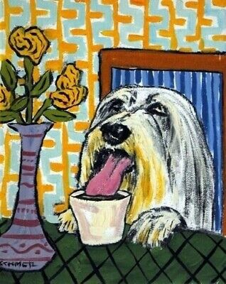 BEARDED COLLIE AT THE COFFEE SHOP signed art print 8.5x11 animals impressionism