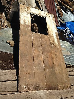 "Antique Barn Wood Door 87"" x 44 1/2"" With Window And 2 Rollers."