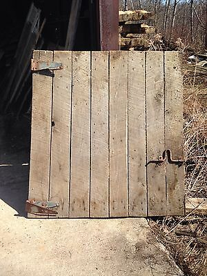 "Antique Barn Wood Hayloft Door 54 1/2"" x 50"" With 2 Hinges and A Latch."