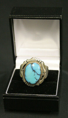 Genuine Sterling Silver Turquoise Ring - Navajo Native American Gift