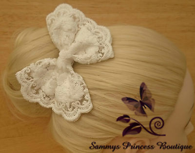 Ladies Large White Ivory Lace Hair Bow Clip Slide Shabby Boho Wedding Bridal
