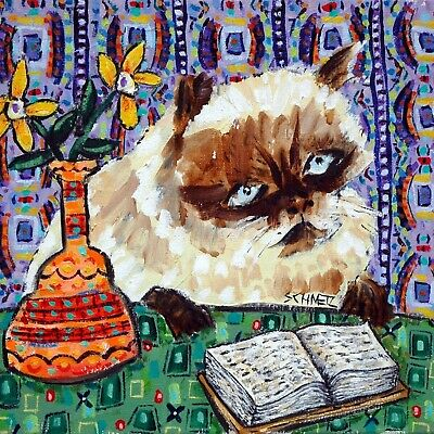 burmese cat reading library art tile coaster gift gifts coasters tiles cats
