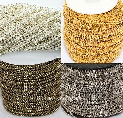 5m/100m Silver/Golden/Bronze Tone Metal Ball Round Chain Lots For DIY Necklace