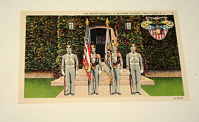 West Point NY Color Guard #8 US Military Academy Linen 1940s Postcard NOS New