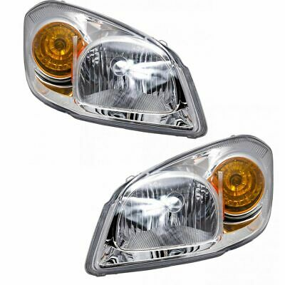 Headlights Headlamps w/Chrome Bezel Left & Right Pair Set for 05-10 Chevy Cobalt