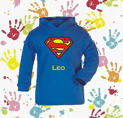 Superman Baby/ Boys  Novelty Personalised Hoody Gift 100% Cotton