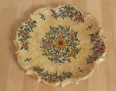 Italy Art Pottery Floral Vintage Wall Hanging BIAGIOLI Gubbio Plate Scalloped