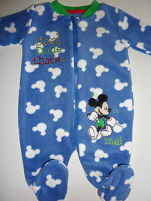 DISNEY Really Cute MICKEY MOUSE 'Cool Dude That's Me! Fleecy Sleepsuit NWT