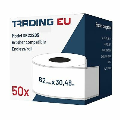 50x Label kompat. zu Brother DK22205 62mm x 30,48 m endlos