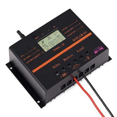 60A LCD PWM Solar Battery Regulator Charge Discharge Controller 12V 24V With USB