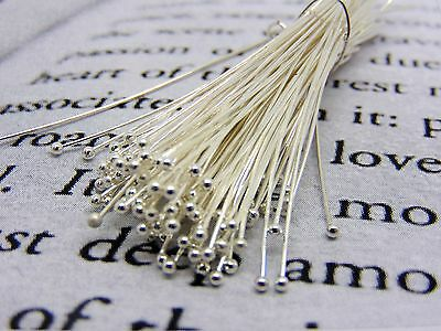 100 Pcs - 35mm Silver Plated Ball Head Pins Jewellery Craft Finding Beading R168