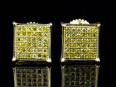 Mens Ladies 10K Yellow Gold Square Prong 8MM Diamond Pave Stud Earrings 0.33 Ct
