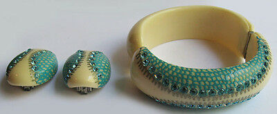 Great Vintage Turquoise Rhinestone Bakelite /celluloid Clamp Bracelet & Earrings