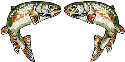 Set Of 2 - Fishing - Golden Trout - Fish - Embroidered Iron on Patch - Style B