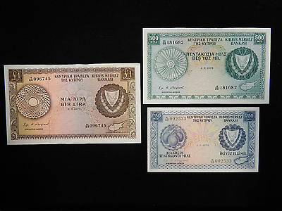 1973-74 Cyprus 1 Pound-500 MIL-250 MIL Ultra Rare Currency Lot