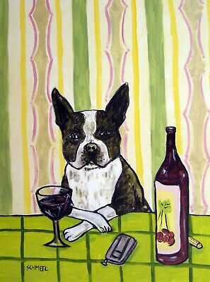 BOSTON TERRIER at the wine bar signed dog art print 8.5x11
