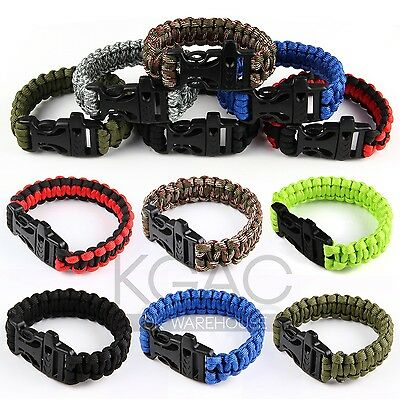 550lb Paracord Survival Military Weave Bracelet Buckle Cord Whistle Camping