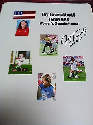 JOY FAWCETT AUTOGRAPHED PHOTO COLLAGE SIGNED USA SOCCER GOLD MEDAL
