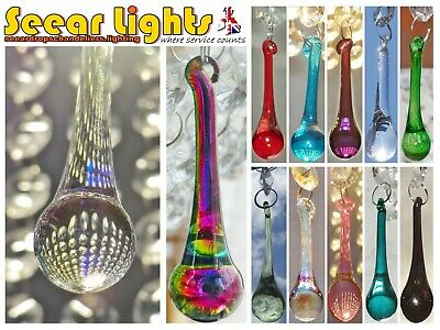 5 Cut Glass Crystals Chandelier Droplets Orb Prisms Drops Beads Antique Quality