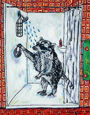 raccoon in the shower taking a bath bathroom signed art print 8.5x11