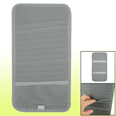 Back Visor CD Ticket Cards Holder Storage Case Gray for Car