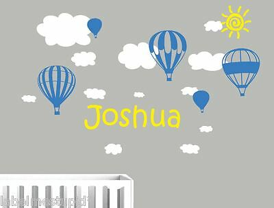 Your Name + Hot Air Balloons Wall Stickers  + 13 Clouds Nursery Baby Boys Girls