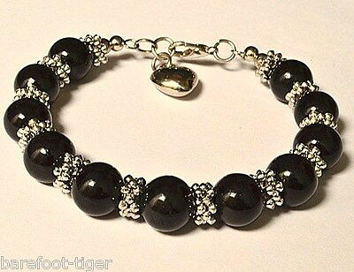 Barefoot Hippy Bracelet Black Bead and Silver Plate Heart Charm