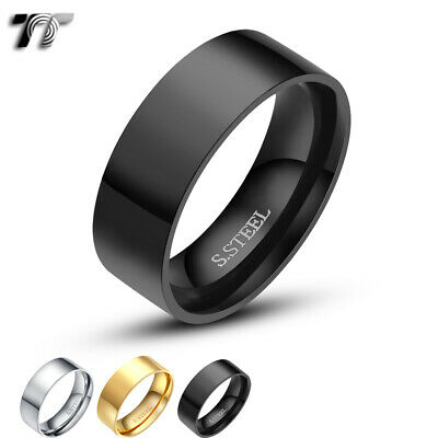 TT 8mm Stainless Steel Polished Flat Band Ring Mens & Womens Size 5-15 (R114)