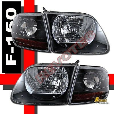 97-03 Ford F-150 F150 SVT Harley Davidson Headlights & Corner Lights Black
