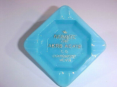 Rare Turquoise Akro Agate Embossed Akroite Ashtray