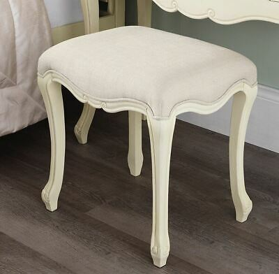 JULIETTE Shabby Chic Champagne Upholstered Stool,French Cream stool with cushion