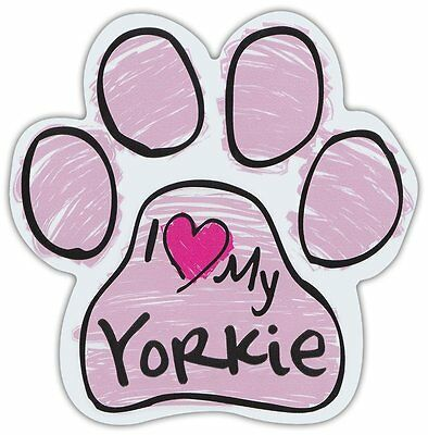 Pink Scribble Paws: I LOVE MY YORKIE (YORKSHIRE TERRIER) | Dog Paw Car Magnets