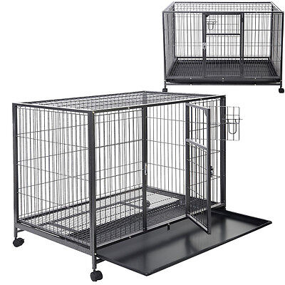 "43"" Heavy Duty Metal Dog Cage Kennel Sturdy Pet Puppy Crate Kennel Big Cat New"