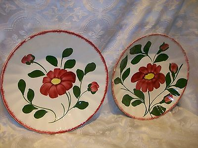 2 *CHIPPED* SOUTHERN POTTERIES BLUE RIDGE BOWLS HAND PAINTED RED FLOWERS