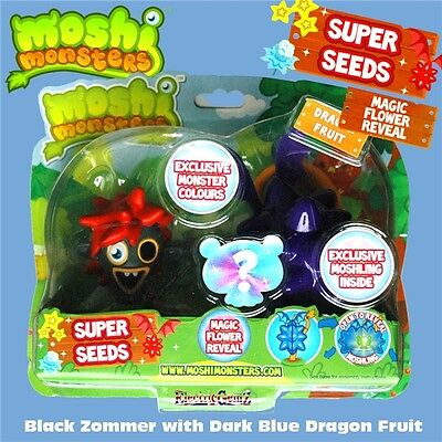Moshi Monsters Super Seeds - Black & Red Zommer and Dark Blue Dragon Fruit