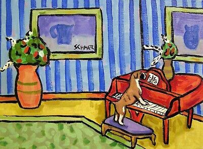 boxer dog art Piano gift set of note cards notecard JSCHMETZ