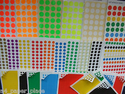 Round Self Adhesive Labels Stickers Code Dots Price Coloured Assorted 5  8 13 mm